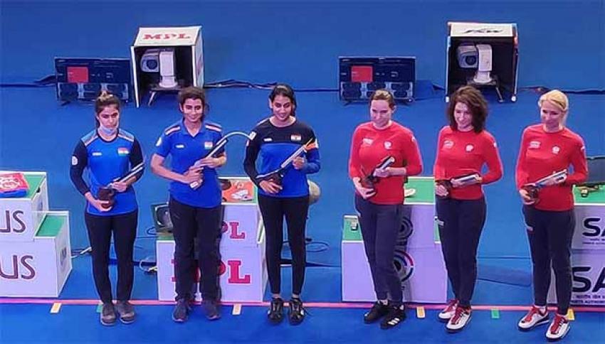 உலகக் கோப்பை துப்பாக்கி சுடுதல் போட்டியில் இந்தியாவுக்கு பதக்கம் பட்டியலில் முதலிடம்